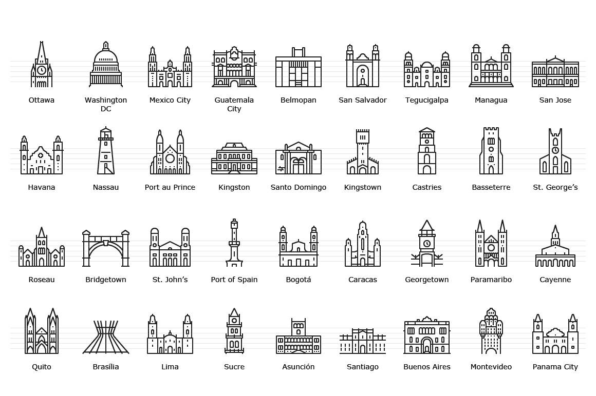 American Capitals - Line Icons