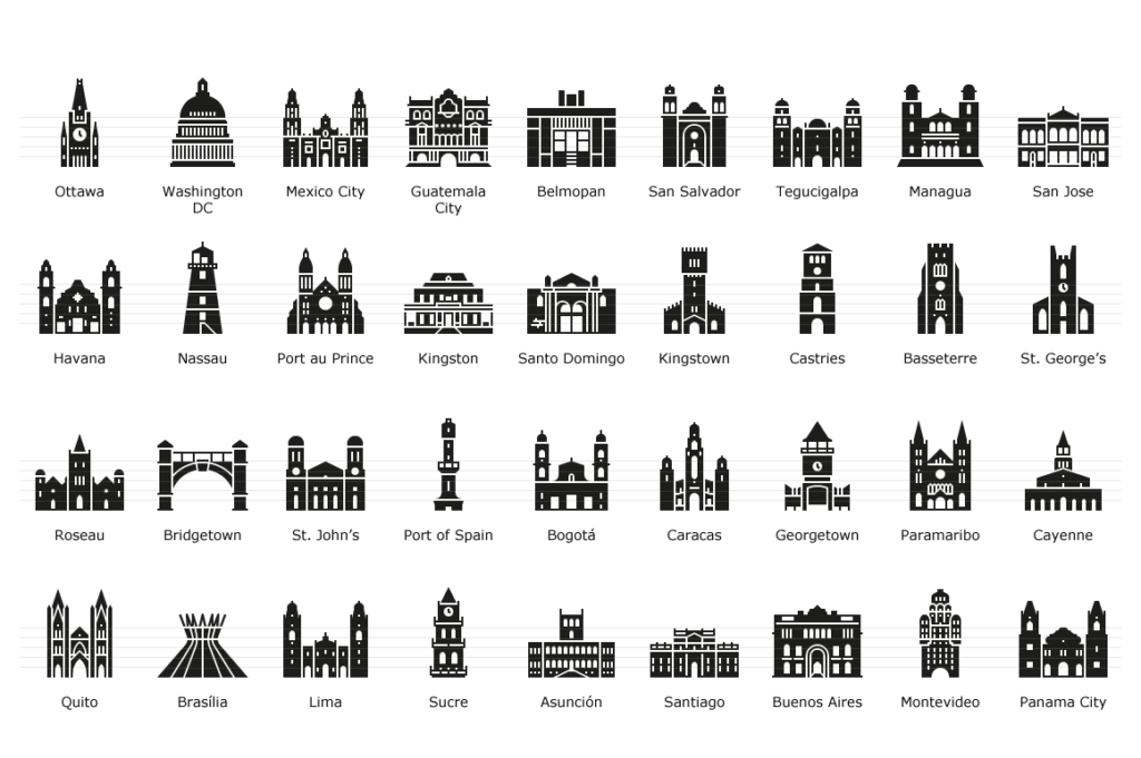 American Capitals - Glyph Icons