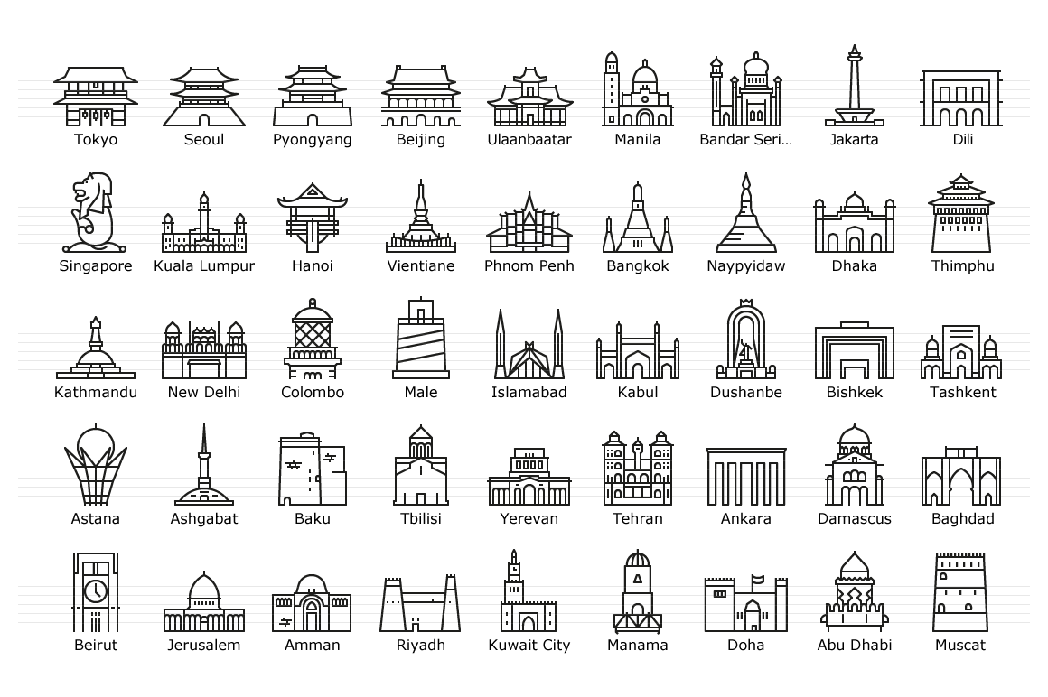 Asian Capitals - Line Icons
