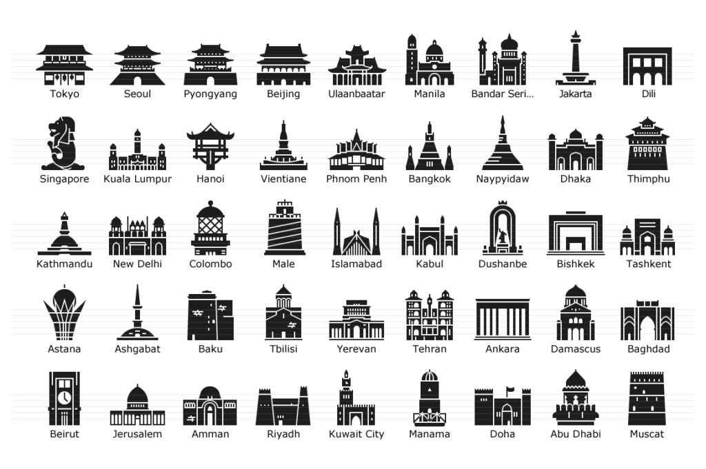 Asian Capitals - Glyph Icons