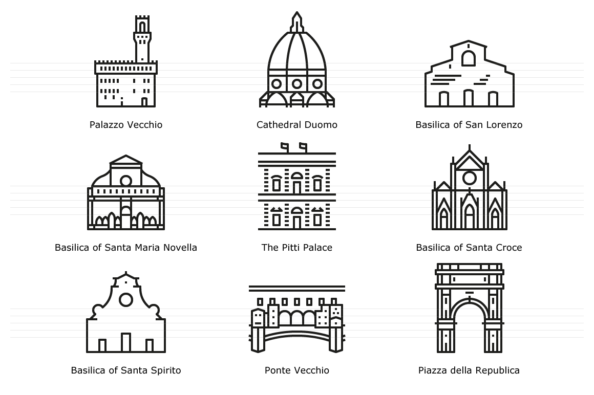 Landmarks of Italy: Florence - Line Icons