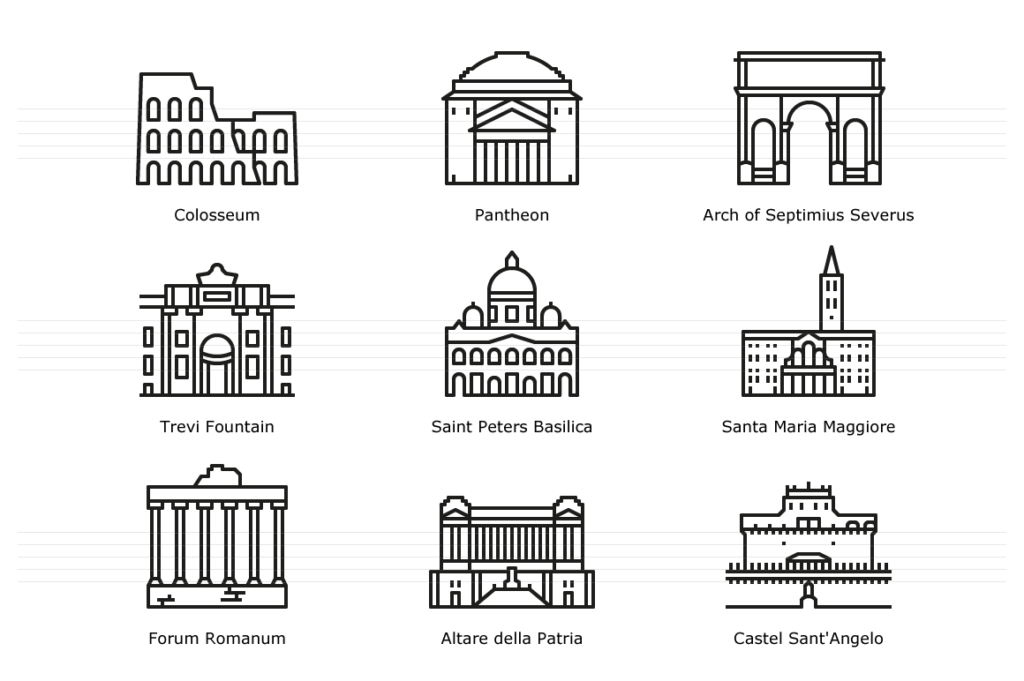 Landmarks of Italy: Rome - Line Icons
