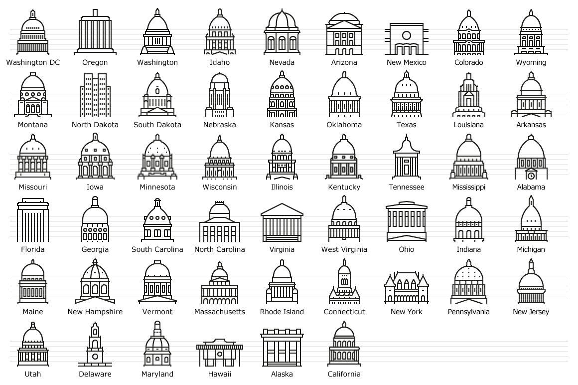 US State Capitols - Line Icons