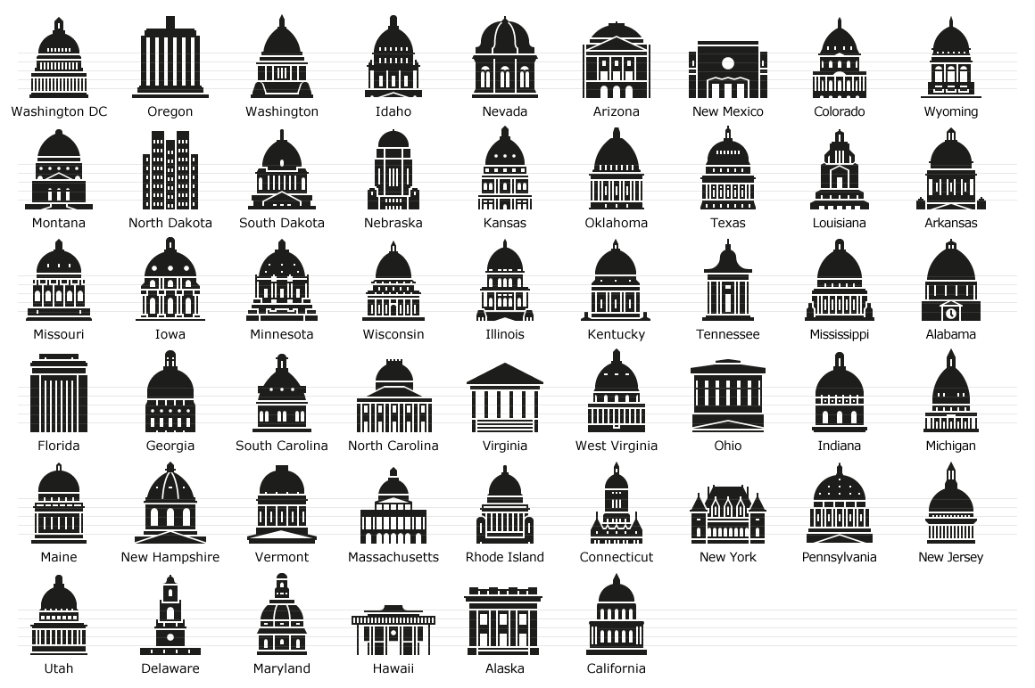 US State Capitols - Glyph Icons