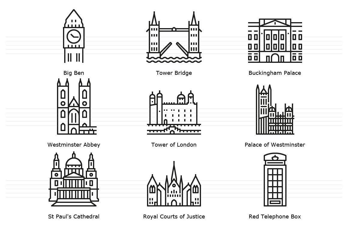Landmarks of London - Outline Icons