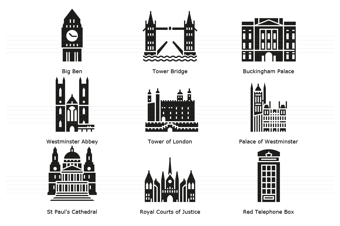 Landmarks of London - Glyph Icons