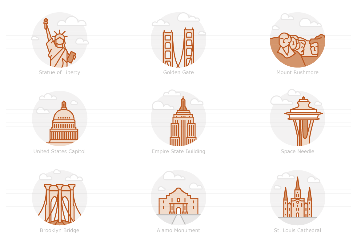 Landmarks of the USA 1 - Filled Outline Icons