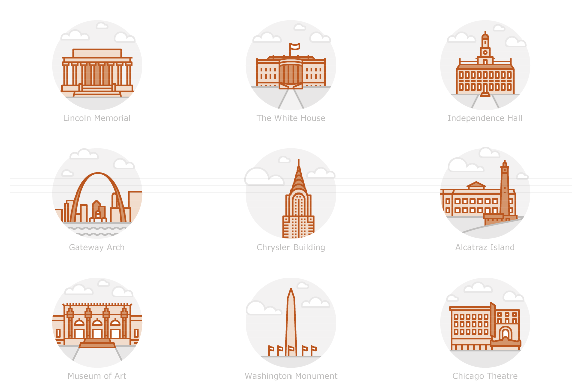 Landmarks of the USA 2 - Filled Outline Icons