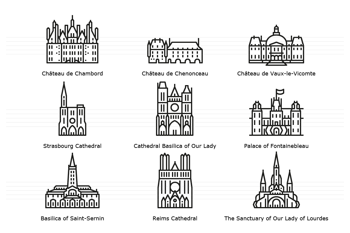 Landmark Icons from various French cities - Outline