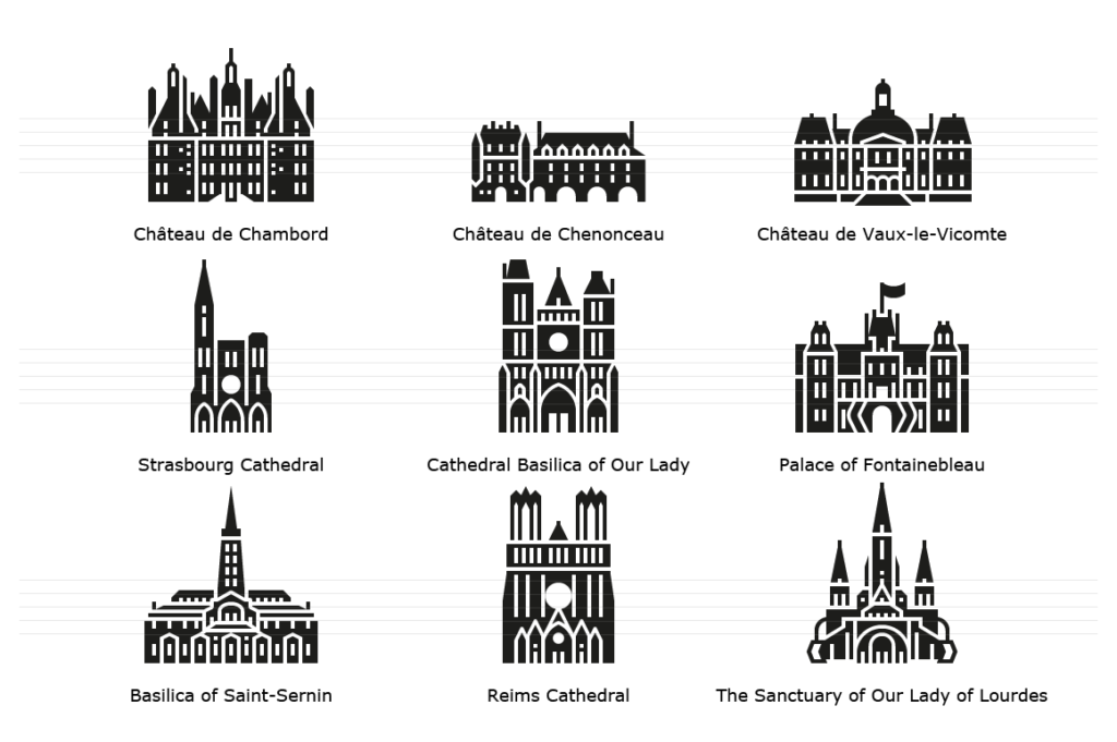 Landmark Icons from various French cities - Glyph