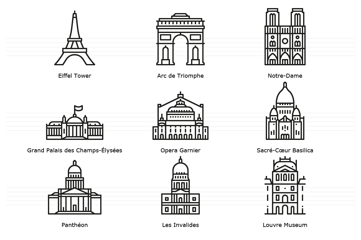 Paris Landmark Icons - Outline