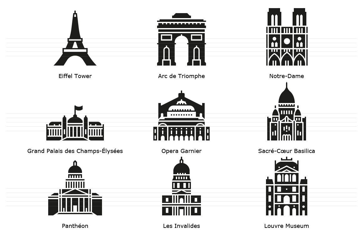 Paris Landmark Icons - Glyph