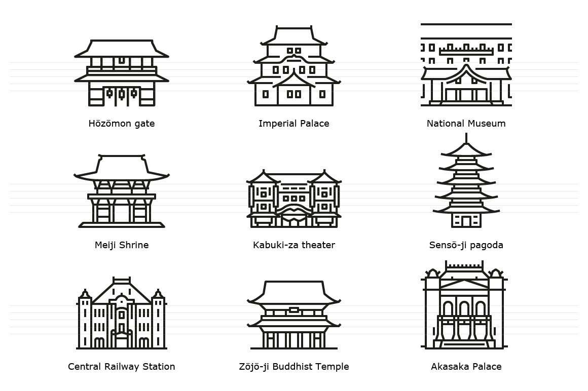 Tokyo: Historic landmark buildings. Outline icons