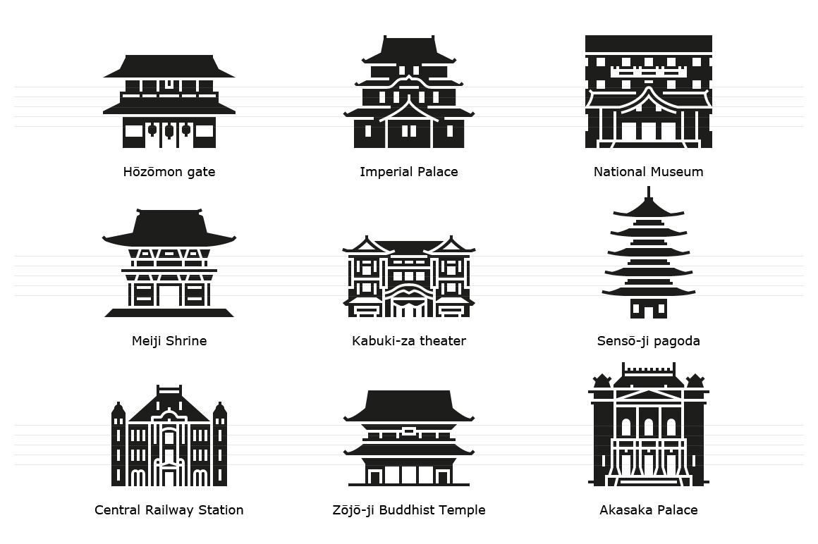 Tokyo: Historic landmark buildings. Glyph icons