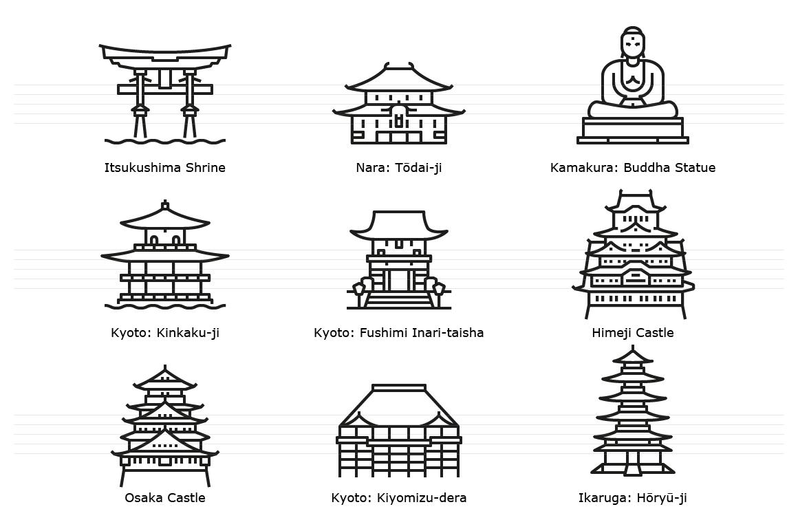 Japan. Historic landmark buildings. Outline icons.