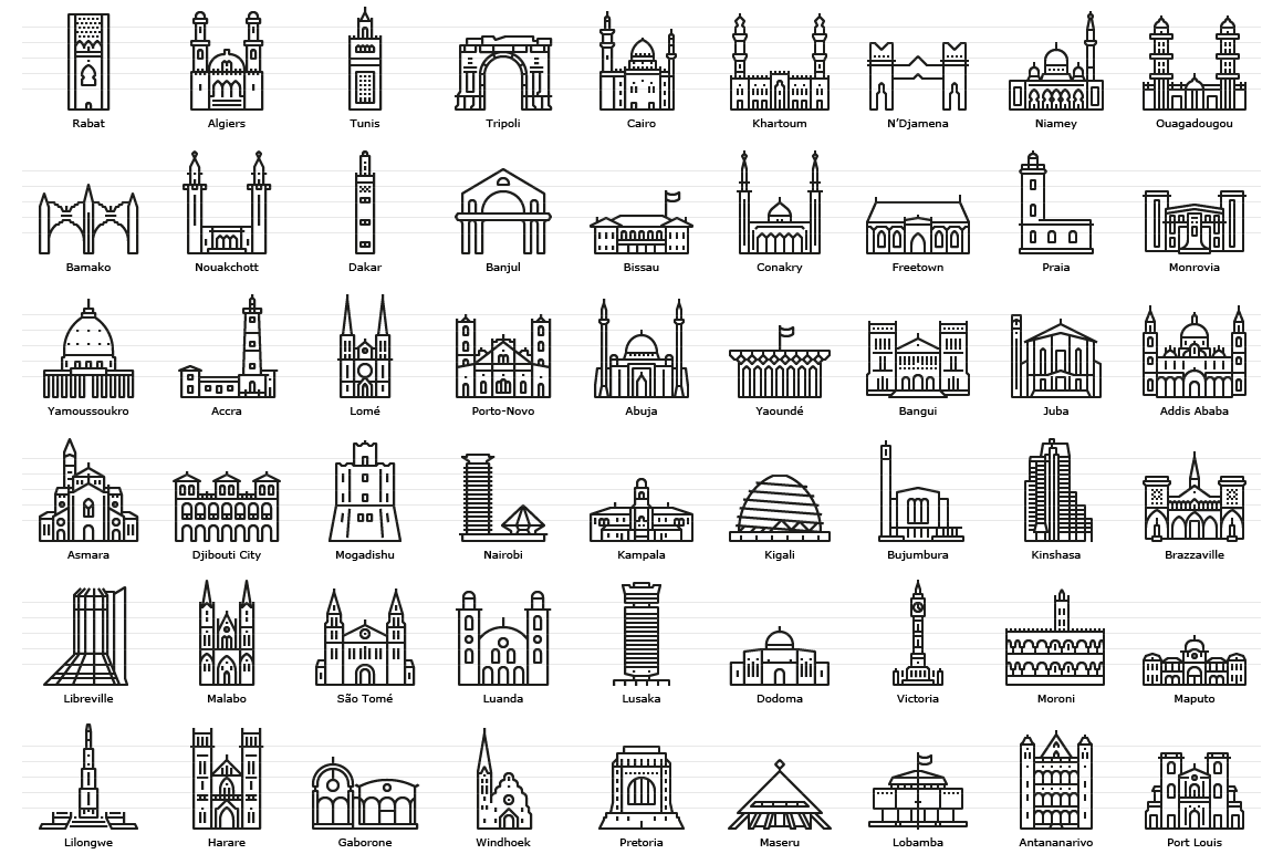 African Capitals - Line Icons