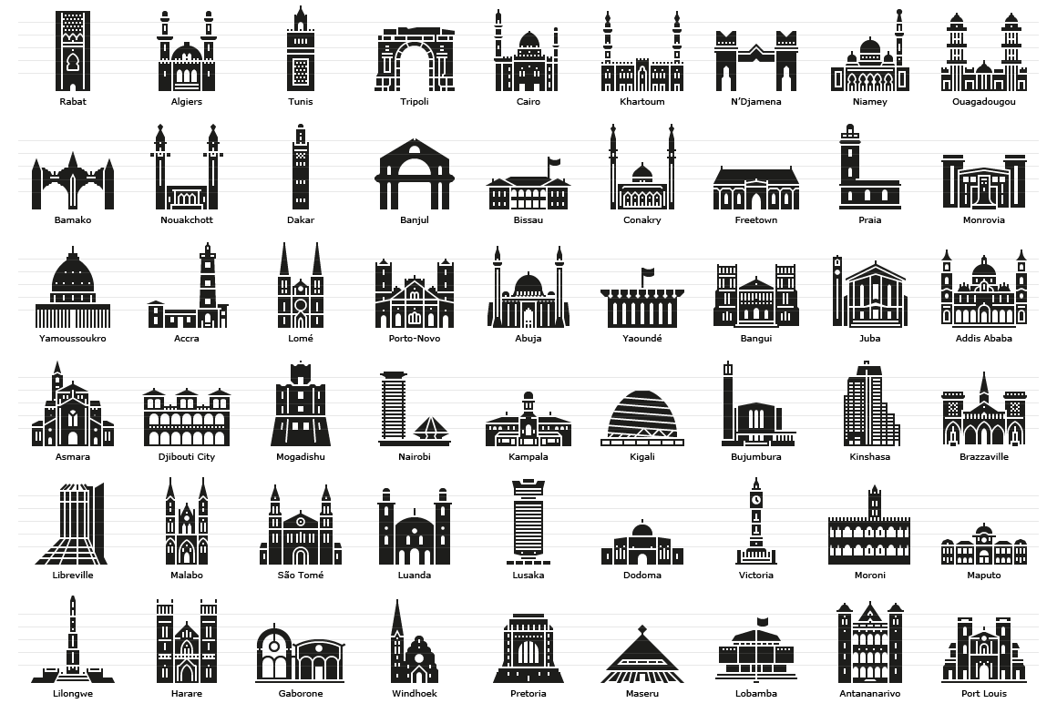 African Capitals - Glyph Icons