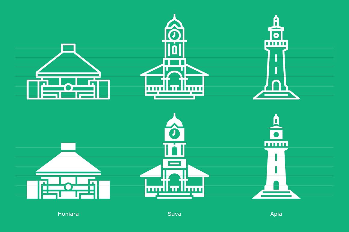 Honiara, Suva and Apia - Landmark Icons